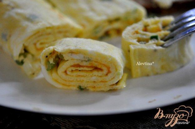 Рецепт Омлет- рулет с зеленым луком