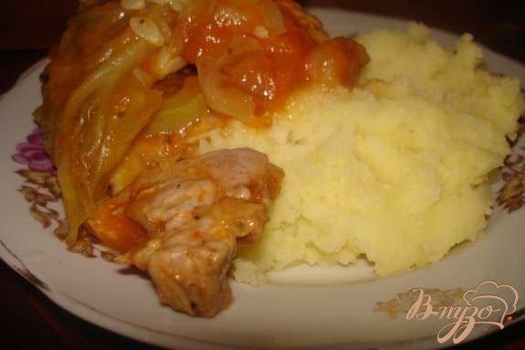 фото рецепта: Мясо под капустным листом