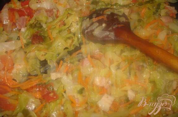 Фото приготовление рецепта: Тушеная капуста с беконом шаг №4