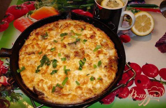 Рецепт Запеченный омлет с беконом,грибами и сыром