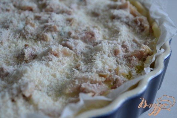 Открытый пирог с цукини и копченой курицей