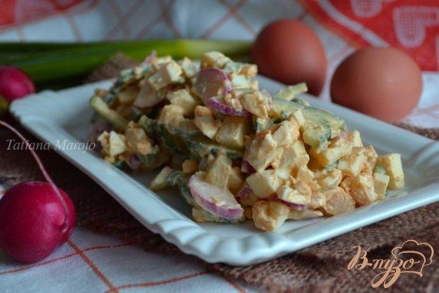 фото рецепта: Яичный салат со свежим огурцом и редисом