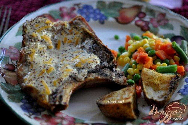 Рецепт Свиные отбивные с горчицей и сыром