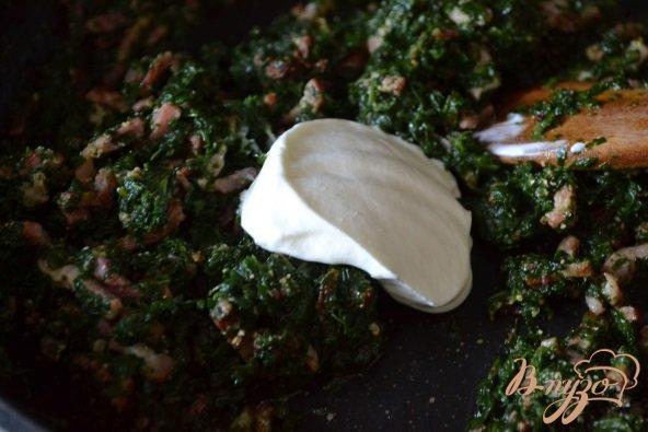 Фото приготовление рецепта: Горячие бутерброды со шпинатом и ветчиной шаг №3