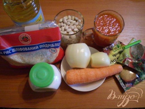 Рис сечка в томате с фасолью