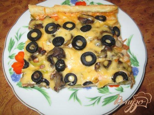 Пицца с шампиньонами и болгарским перцем