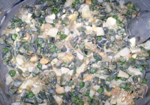 Салат со стручковой фасолью и зеленым горошком