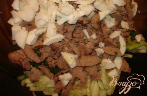 Салат из печени с огурцом