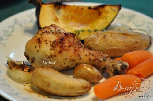Куриные ножки с овощами с кленовым сиропом