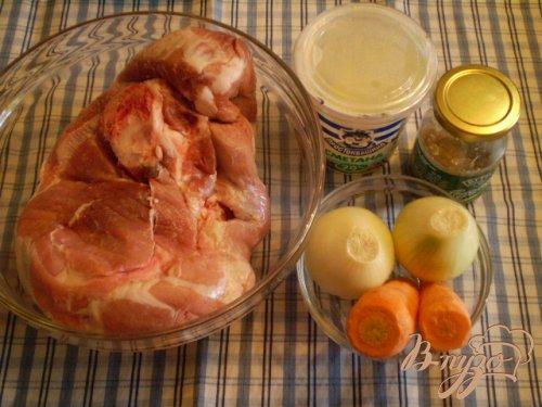 Свинина со сметаной и горчицей с овощами