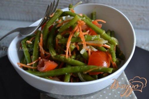 Острый салат из зеленой фасоли