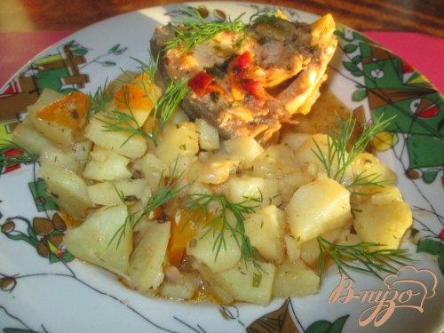 Картошка с горбушей, тушеная в казане