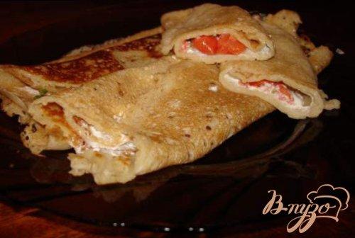 Блины на пиве с начинкой из форели(лосося) со сливочной пастой