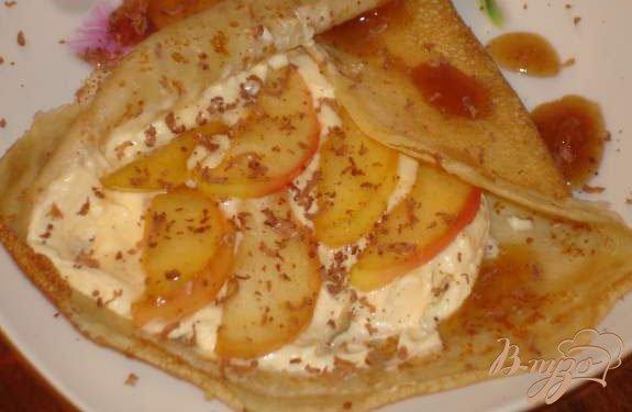 Рецепт Блины с кремом и фруктами