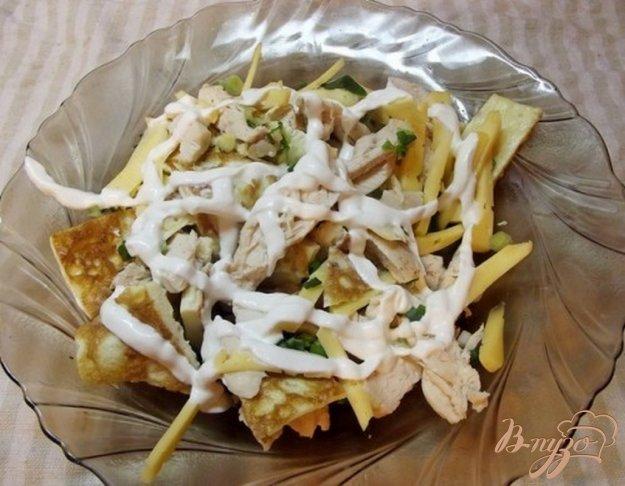 Рецепт Теплый салат с омлетом и курицей