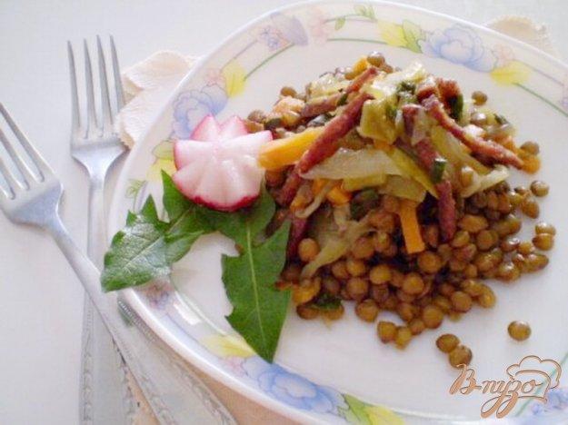 Рецепт Чечевица с овощами и копченой колбасой