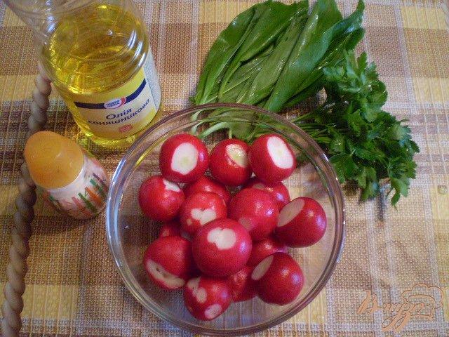Фото приготовление рецепта: Салат из редиса с петрушкой и черемшой шаг №1