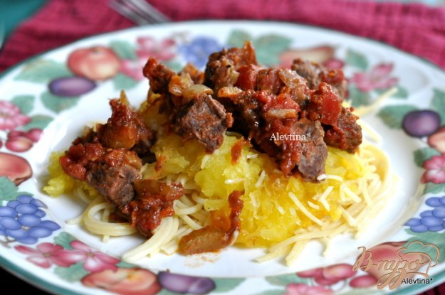 фото рецепта: Мясное рагу с тыквой спагетти