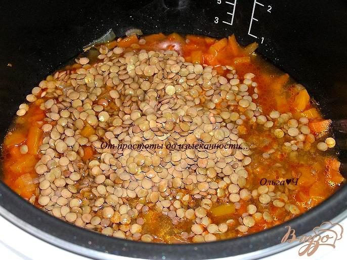 Фото приготовление рецепта: Чечевица с овощами в томатном соусе (в мультиварке) шаг №3