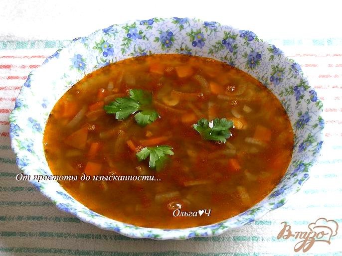 Фото приготовление рецепта: Томатный суп с чечевицей шаг №5