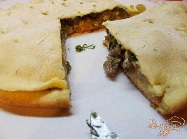 фото рецепта: Пицца закрытая мясная с зеленью