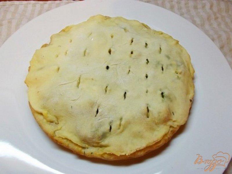 Фото приготовление рецепта: Пицца закрытая мясная с зеленью шаг №11