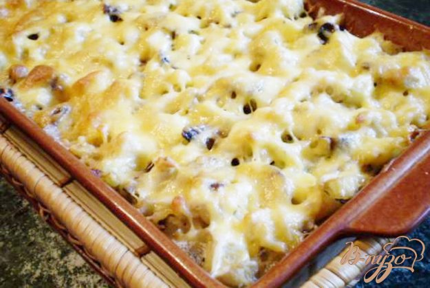 Рецепт Цветная капуста с грибами, молоком и сыром.