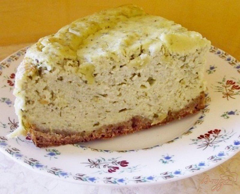Фото приготовление рецепта: Закусочная творожная запеканка с зеленью шаг №6