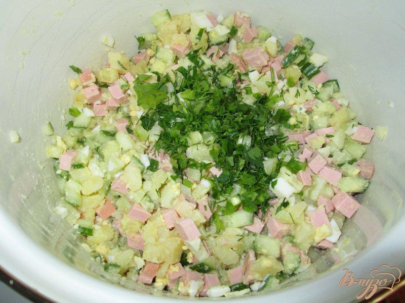 Фото приготовление рецепта: Окрошка на воде с майонезом и уксусом шаг №5