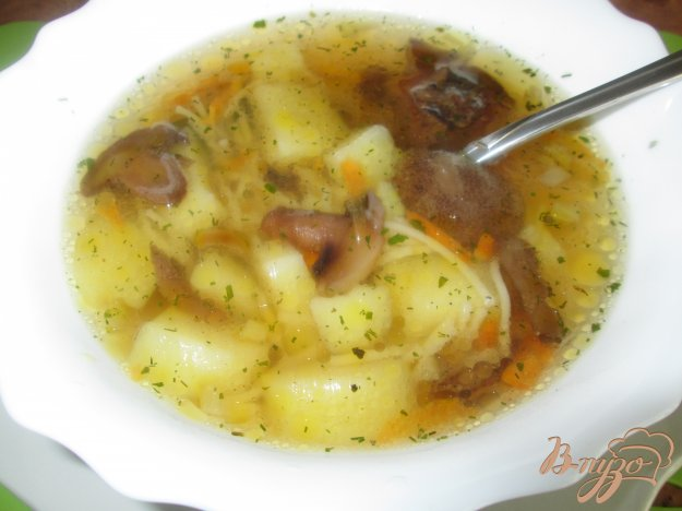 Рецепт Суп грибной с маслятами и шампиньонами