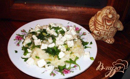 Лапша с зеленью и козьим сыром