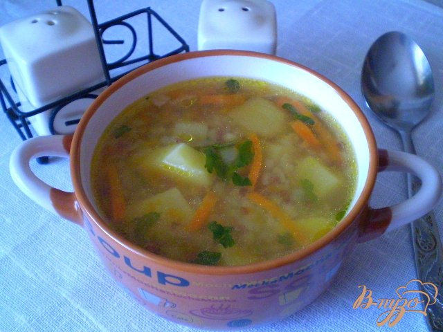Фото приготовление рецепта: Суп гречневый с тыквой шаг №9