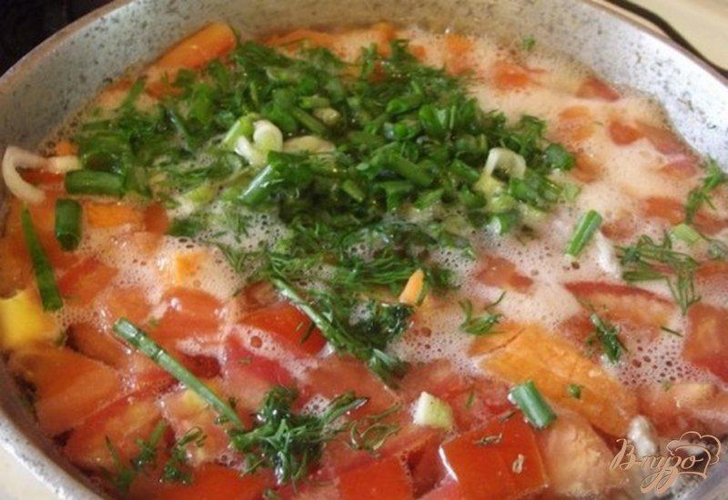 Фото приготовление рецепта: Суп с томатами шаг №6