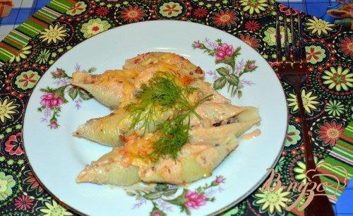 Рецепт Конкильони с вареным фаршем под томатно-сливочным соусом