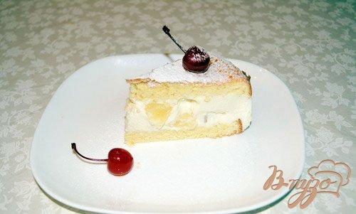 фото рецепта: Нежный творожный торт с ананасами