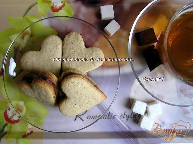 """Рецепт Печенье """"Кофейные сердечки"""" с шоколадным кремом"""