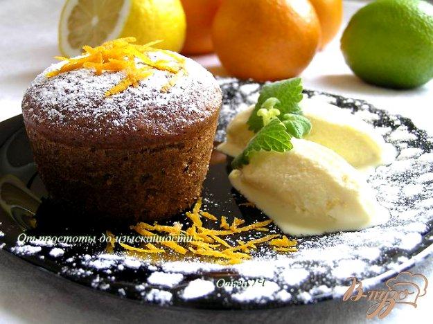 """Рецепт Десерт """"Цитрусовый всплеск"""" или апельсиново-мандариновые брауни с лимонно-лаймовым мороженым"""
