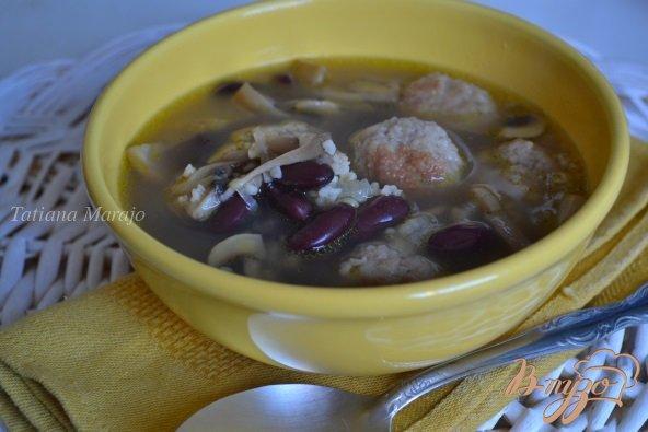 фото рецепта: Суп с мясными шариками  и булгуром