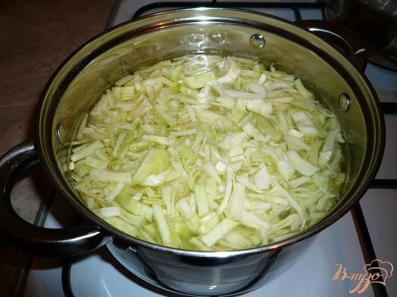 Фото приготовление рецепта: Суп с капустой и рисом шаг №4