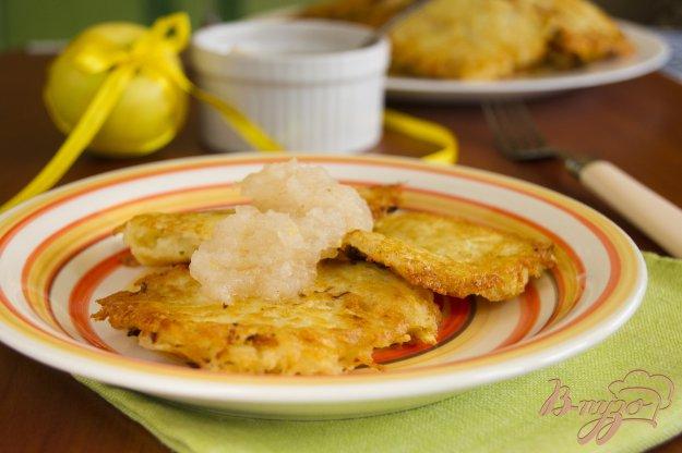 фото рецепта: Картофельные оладьи с яблочным муссом