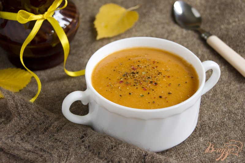 Фото приготовление рецепта: Чечевичный суп-пюре с баклажаном шаг №7