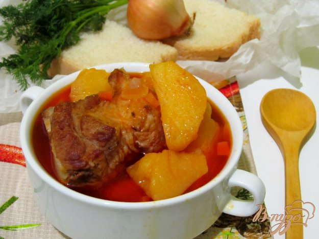 Рецепт Тушеная картошка с ребрышками