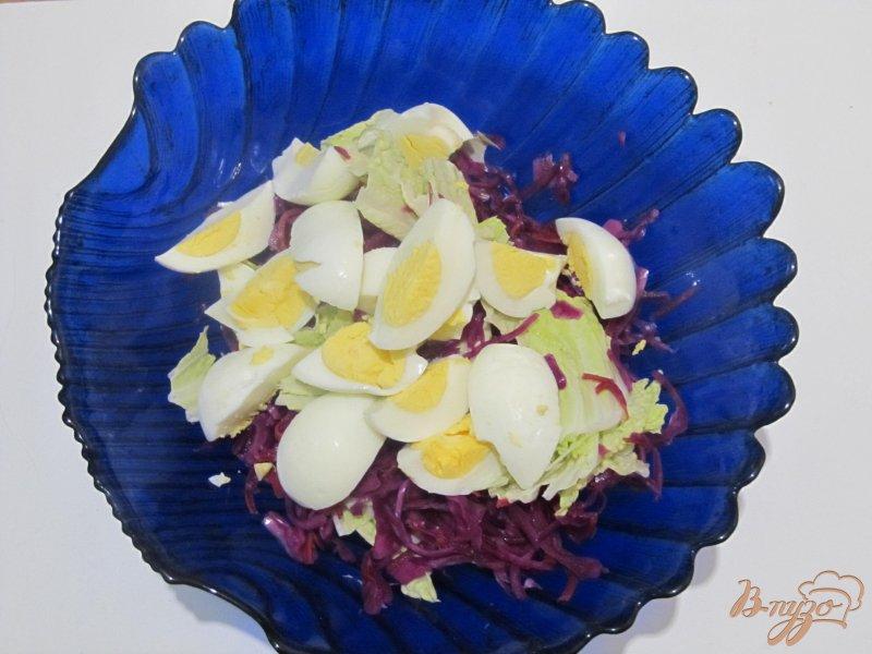 Фото приготовление рецепта: Салат из пекинской и краснокочанной капусты шаг №4