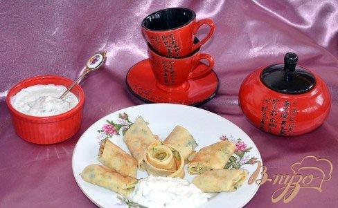 Рецепт Блины с укропом и соусом Дзадзыки