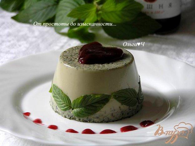 Рецепт Мятное бланманже с вишневым конфитюром