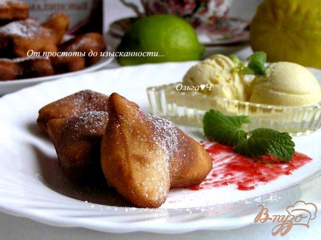 Рецепт Творожно-малиновые пончики с цитрусовым мороженым