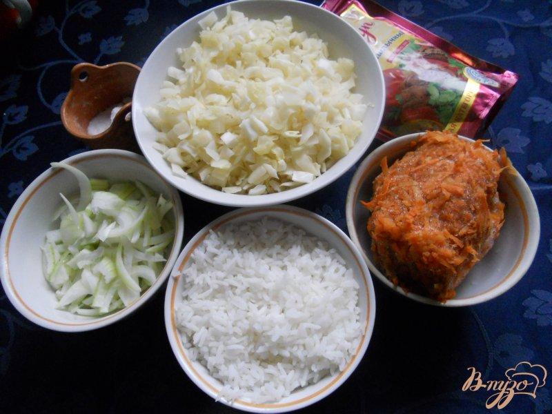 Фото приготовление рецепта: Капуста тушеная с рисом шаг №1