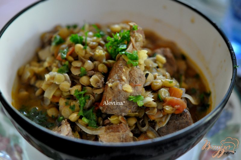 Фото приготовление рецепта: Суп из чечевицы с говядиной шаг №5