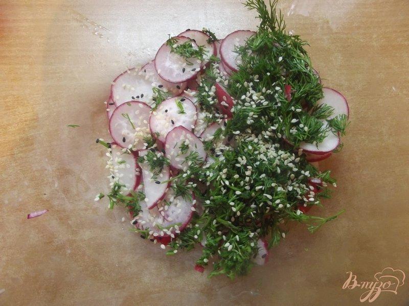 Фото приготовление рецепта: Салат из редиса с кунжутом и мятой шаг №3
