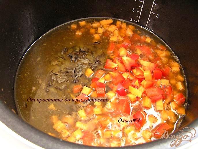 Фото приготовление рецепта: Свинина с рисом и овощами (в мультиварке) шаг №4